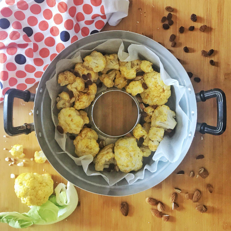 Cavolfiore curry, uvetta e mandorle