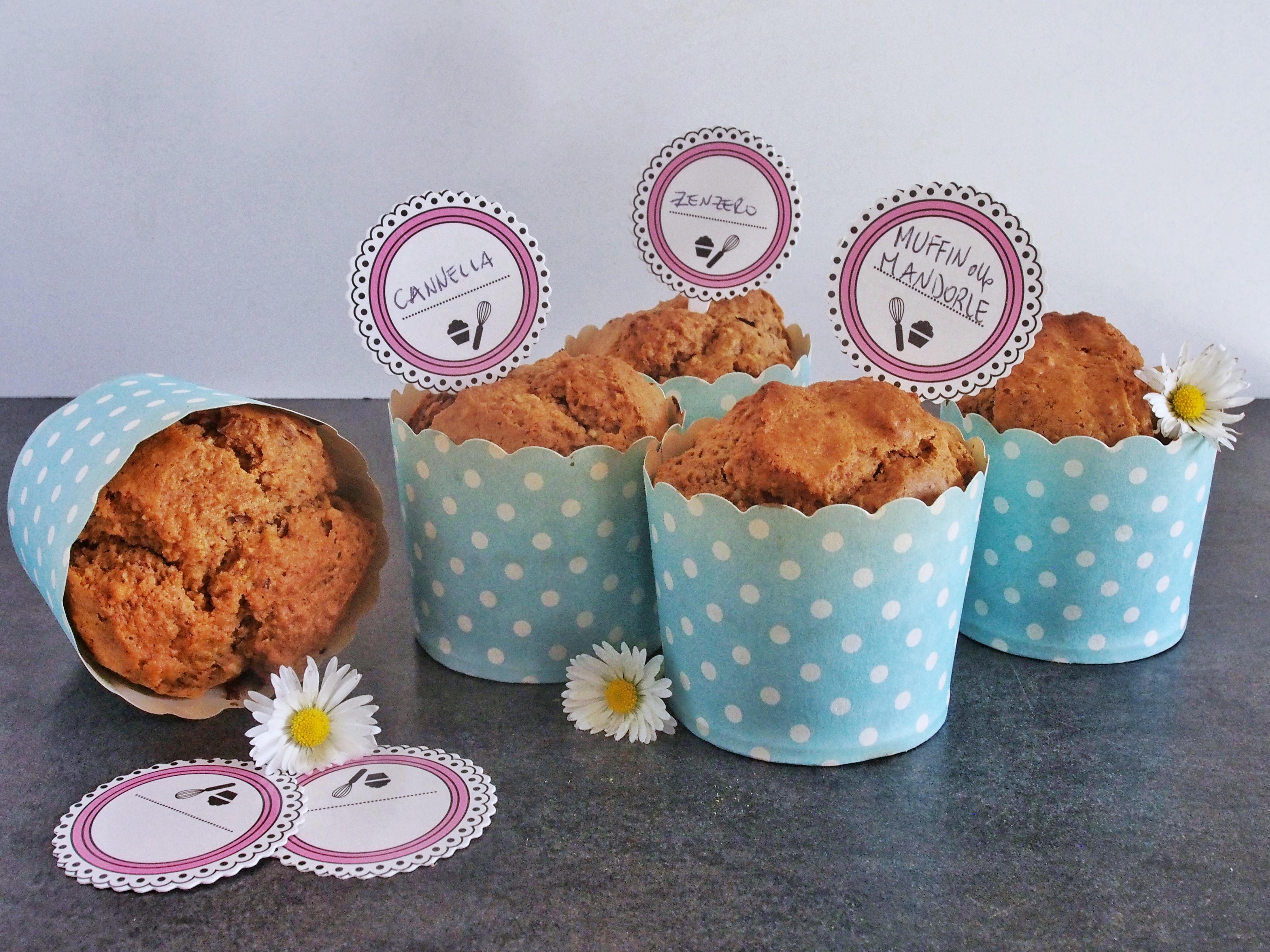 Muffin mandorle tostate, cannella e zenzero